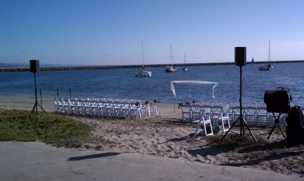 Oceano Half Moon Bay Beach Wedding Ceremony Setup Photo - DJ Jeremy Productions
