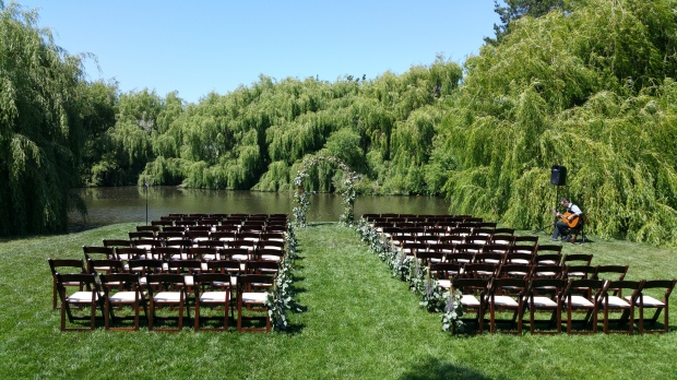 Wedding ceremony setup near the pond